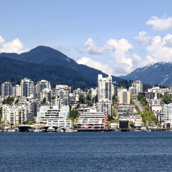 photo of North Vancouver with the mountains in the background. Palagon has the office for you in this area.