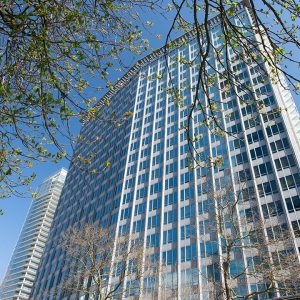 An exterior photo of an office building located at 970 Burrard in Vancouver BC, get in touch the lease an office space with Palagon